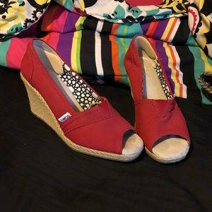 Red Toms wedge heels